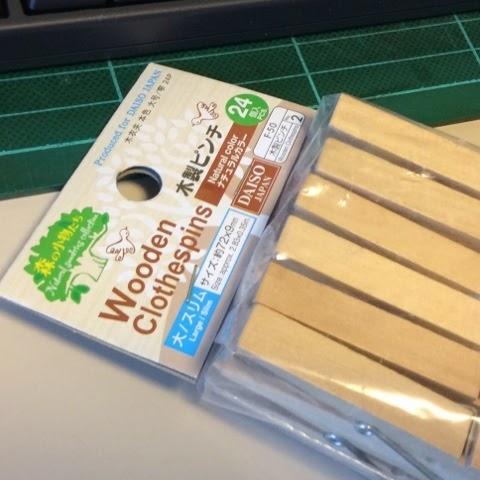 ダイソーの木製ピンチ(洗濯ばさみ)を文房具クリップにしてるよ